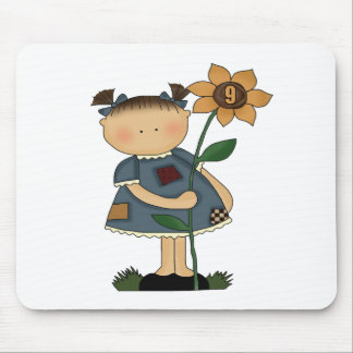 Sunflower Girl 9th Birthday Gifts Mousepad