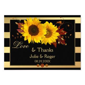 Sunflower Gold Stripe Photo Wedding Thank You Card
