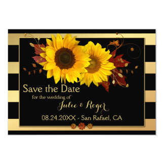 Sunflower Gold Striped Photo Save the Date Card
