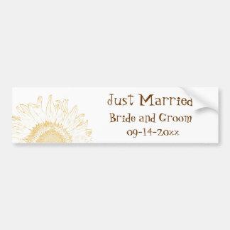 Sunflower Graphic Just Married Bumper Sticker