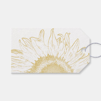 Sunflower Graphic Wedding Favour Tags