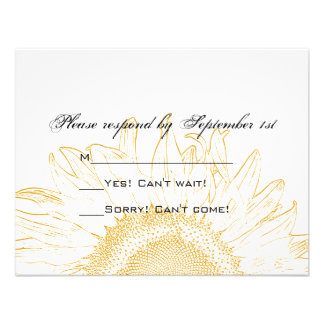 Sunflower Graphic Wedding Response Card Invites