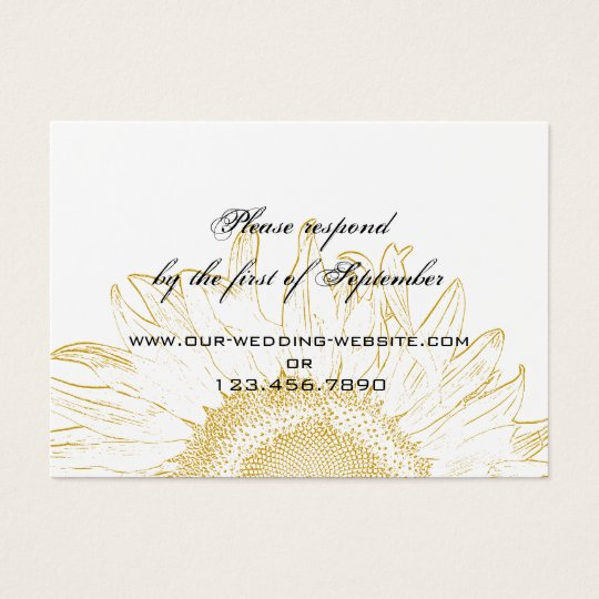 Sunflower Graphic Wedding RSVP Card
