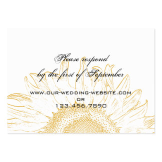 Sunflower Graphic Wedding RSVP Card Pack Of Chubby Business Cards