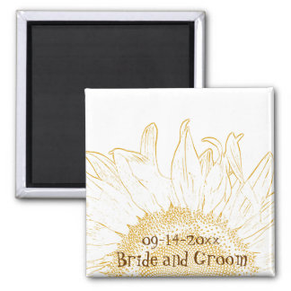 Sunflower Graphic Wedding Square Magnet