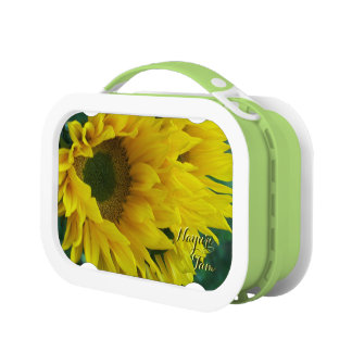 Sunflower green and yellow 1c personalized lunchboxes