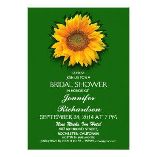 sunflower green bridal shower invitation