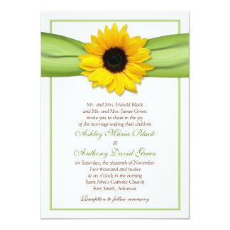 Sunflower Green Ribbon Wedding Invitation