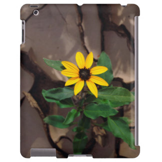Sunflower growing from Cracked Mud iPad Case