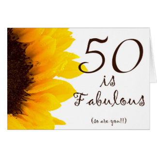 Sunflower Happy 50th Birthday Greeting Card