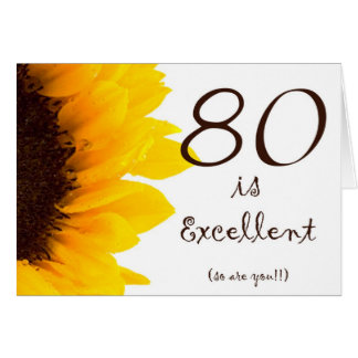 Sunflower Happy 80th Birthday Card