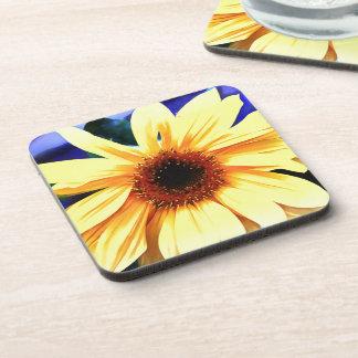 Sunflower Hard Plastic coasters w cork back - 6