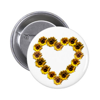 Sunflower Heart 6 Cm Round Badge