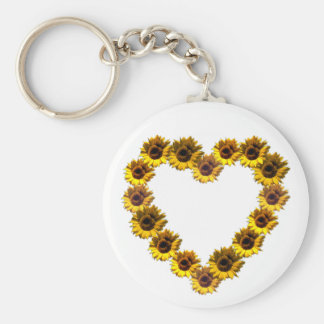 Sunflower Heart Basic Round Button Key Ring