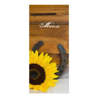 Sunflower Horseshoe Country Western Wedding Menu Personalised Rack Card