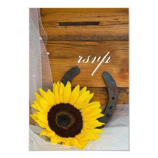 Sunflower Horseshoe Country Western Wedding RSVP Card