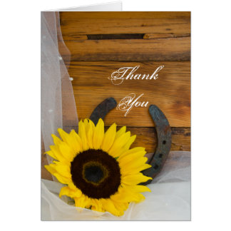 Sunflower Horseshoe Western Bridesmaid Thank You Card