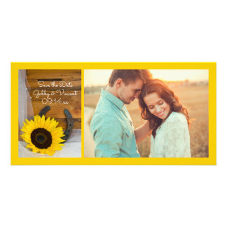 Sunflower Horseshoe Western Wedding Save the Date Card