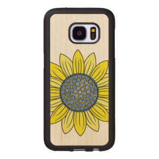 Sunflower Illustration Wood Samsung Galaxy S7 Case