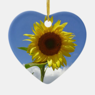 Sunflower in a Blue Sky Ceramic Heart Decoration