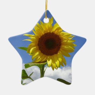 Sunflower in a Blue Sky Ceramic Star Decoration