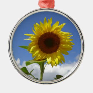 Sunflower in a Blue Sky Silver-Colored Round Decoration
