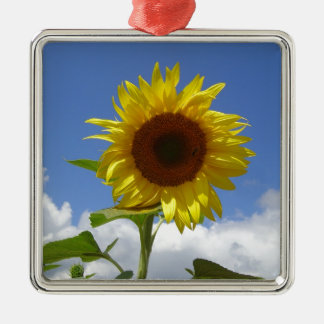 Sunflower in a Blue Sky Silver-Colored Square Decoration