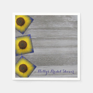Sunflower in Blue Rustic Barn Wood Paper Napkins