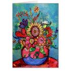 Sunflower in Pink Vase Card