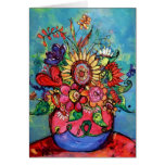 Sunflower in Pink Vase Greeting Card