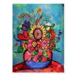 Sunflower in Pink Vase Postcard