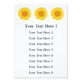 "Sunflower. 5"" X 7"" Invitation Card"