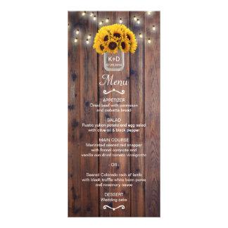 Sunflower Jar String Lights Rustic Wedding Menu