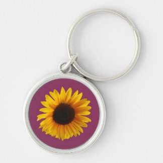 Sunflower Key Ring (Gold and Raspberry) Silver-Colored Round Key Ring