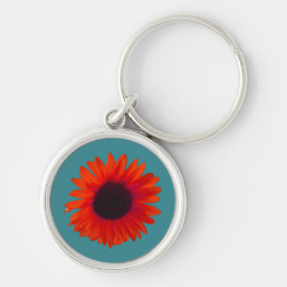 Sunflower Key Ring (Orange and Teal) Silver-Colored Round Key Ring