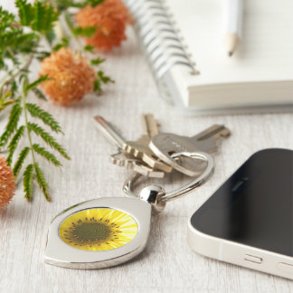 Sunflower Keychain Silver-Colored Swirl Key Ring
