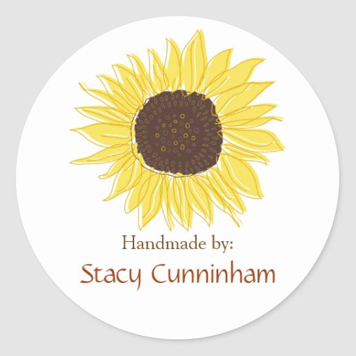 Sunflower Labels for Handmade items Stickers