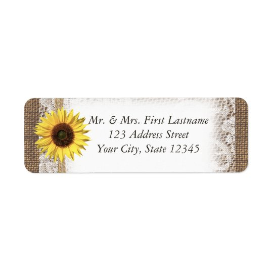 Sunflower Lace and Burlap Return Address Label