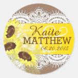 Sunflower Lace Burlap Wedding Label