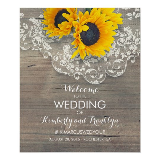 Sunflower Lace Wood Rustic Wedding Welcome Sign