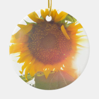 Sunflower Light Round Ceramic Decoration