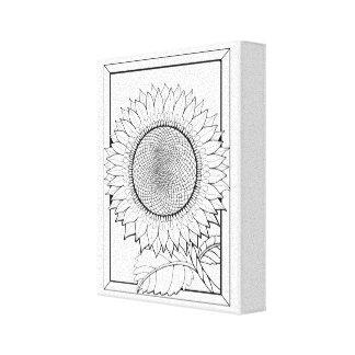 Sunflower Line Art Design Canvas Print