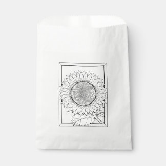 Sunflower Line Art Design Favour Bags