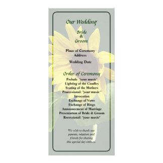 Sunflower Looking Down Wedding Program Rack Card