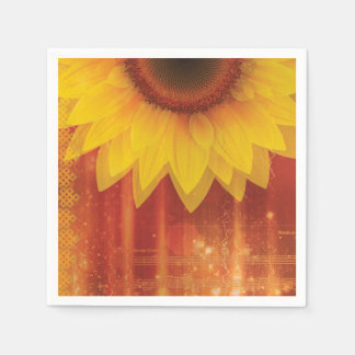 Sunflower, Love and happiness Disposable Serviette
