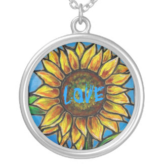 SUNFLOWER LOVE NECKLACE...Lovely image! Round Pendant Necklace