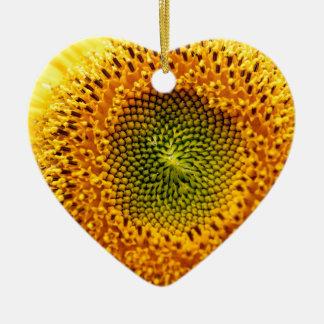 Sunflower macro ceramic heart decoration