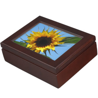 Sunflower - Mahogany-Coloured Wood Keepsake Box
