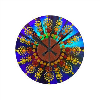 Sunflower Mandala Clock with Reflective Background