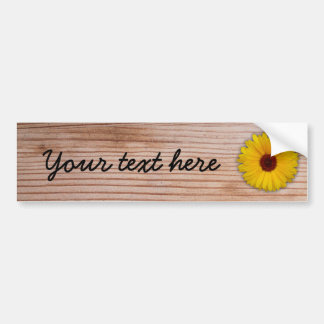 Sunflower Marigold on Rustic Wooden Boards Bumper Sticker